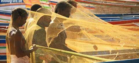 Fischernetz Reparatur in Indien